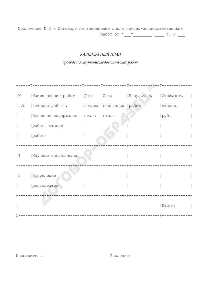 Календарный план (приложение к договору на выполнение цикла научно-исследовательских работ). Страница 1