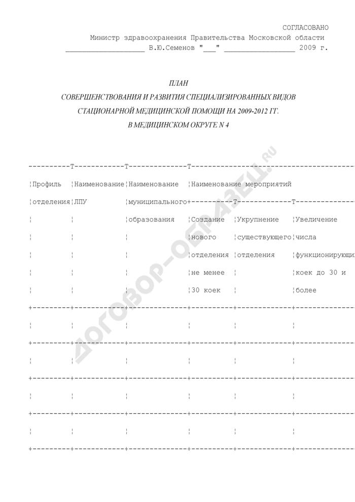 План совершенствования и развития специализированных видов стационарной медицинской помощи на 2009-2012 гг. в медицинском округе N 4 Московской области. Страница 1