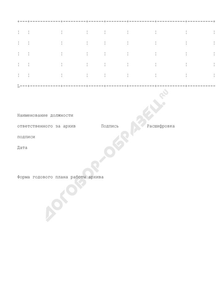 Форма годового плана работы архива таможенного органа. Страница 2