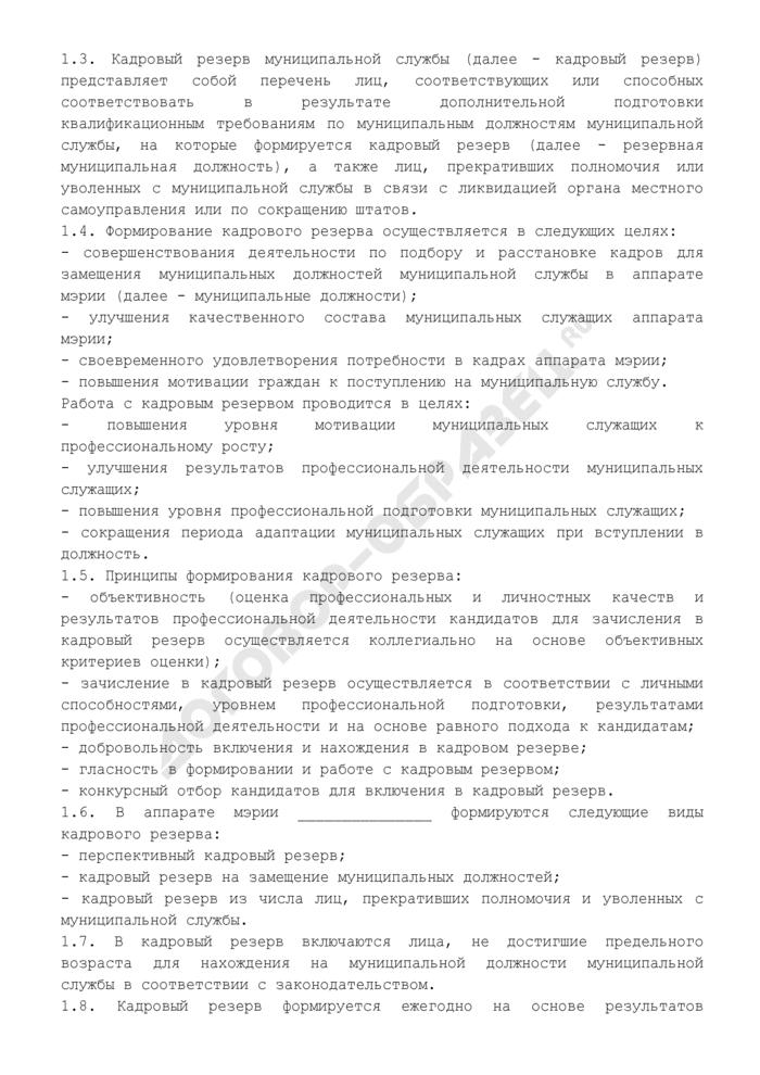 Положение о порядке формирования кадрового резерва на муниципальной службе. Страница 2