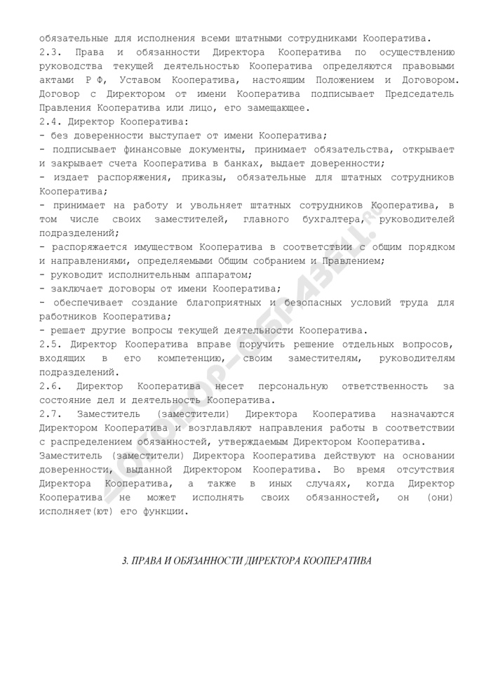 Положение о директоре кредитного потребительского кооператива граждан. Страница 2