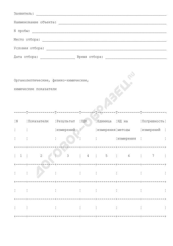 Протокол исследования образцов (проб) воды. Страница 2