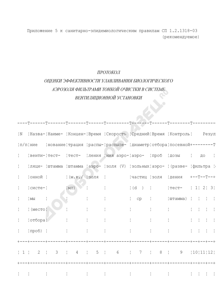 Протокол оценки эффективности улавливания биологического аэрозоля фильтрами тонкой очистки в системе вентиляционной установки (рекомендуемая форма). Страница 1