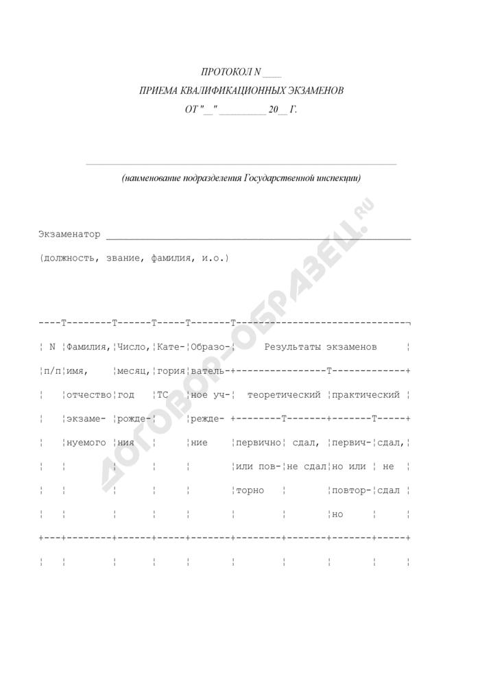 Протокол приема квалификационных экзаменов. Страница 1