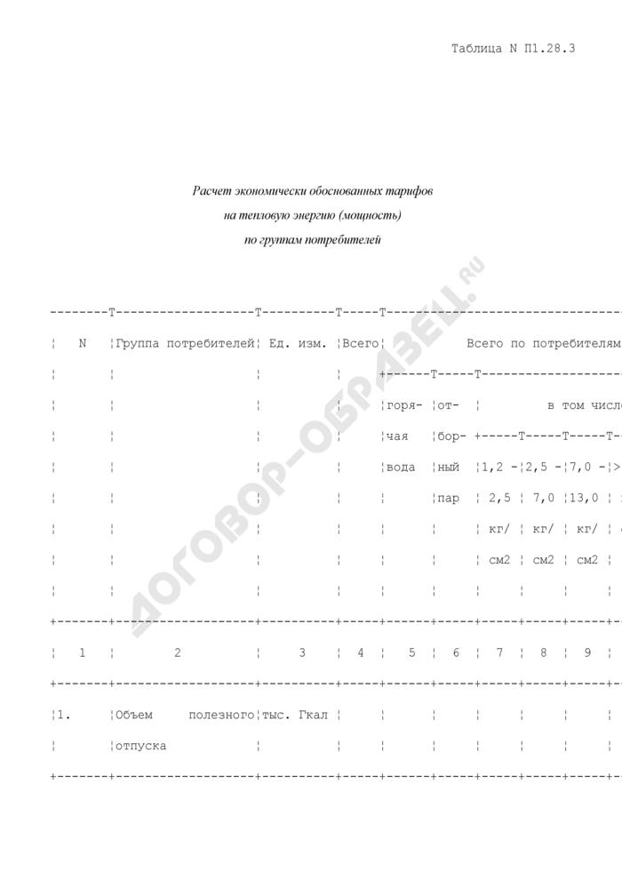 Расчет экономически обоснованных тарифов на тепловую энергию (мощность) по группам потребителей (таблица N П1.28.3). Страница 1