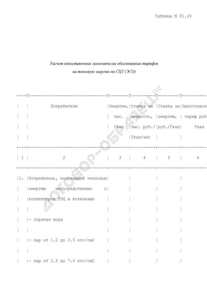 Расчет одноставочных экономически обоснованных тарифов на тепловую энергию по системе центрального теплоснабжения (энергоснабжающей организации) (таблица N П1.28). Страница 1