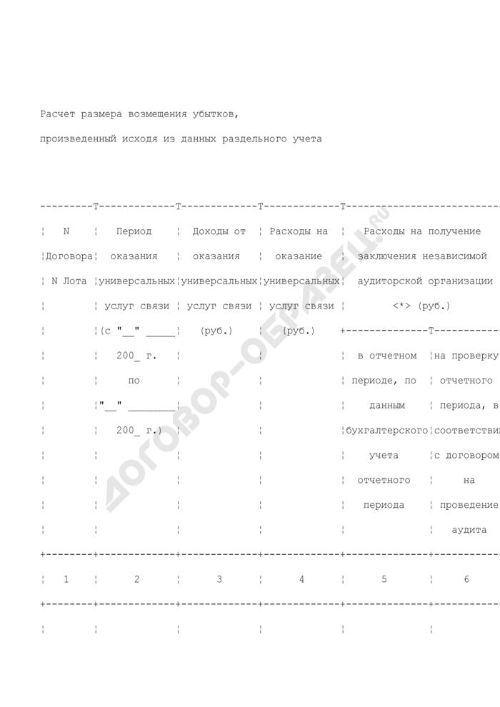 Расчет размера возмещения убытков, произведенный исходя из данных раздельного учета (приложение к запросу о возмещении оператору универсального обслуживания убытков, причиняемых оказанием универсальных услуг связи). Страница 1