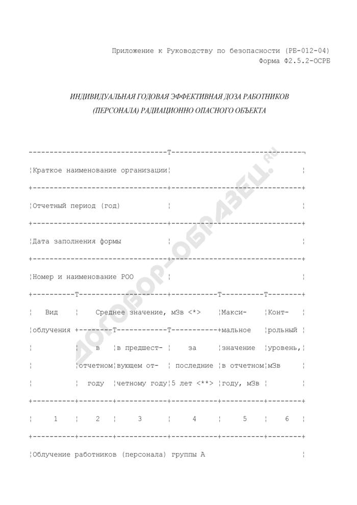 Индивидуальная годовая эффективная доза работников (персонала) радиационно опасного объекта. Форма N Ф2.5.2-ОСРБ. Страница 1