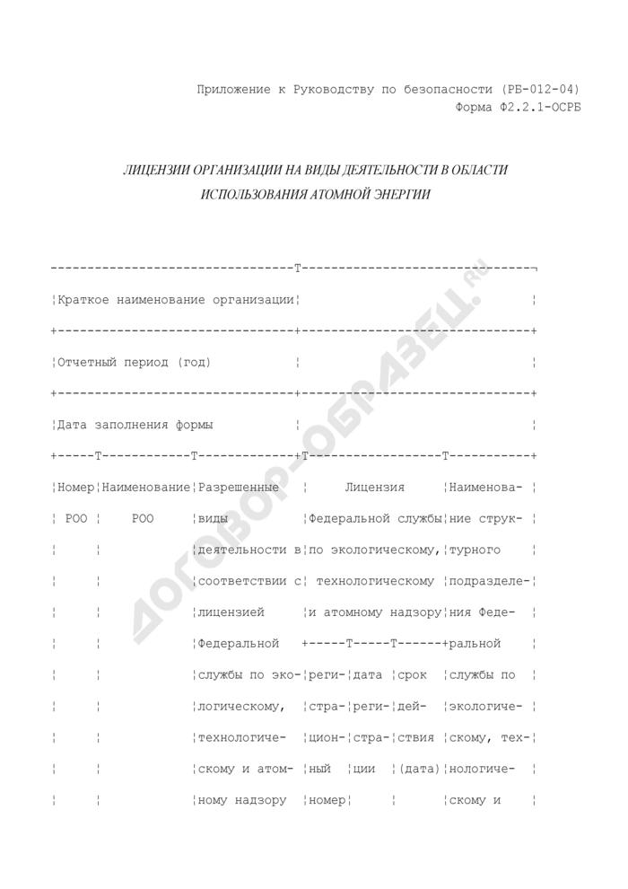 Лицензии организации на виды деятельности в области использования атомной энергии. Форма N Ф2.2.1-ОСРБ. Страница 1