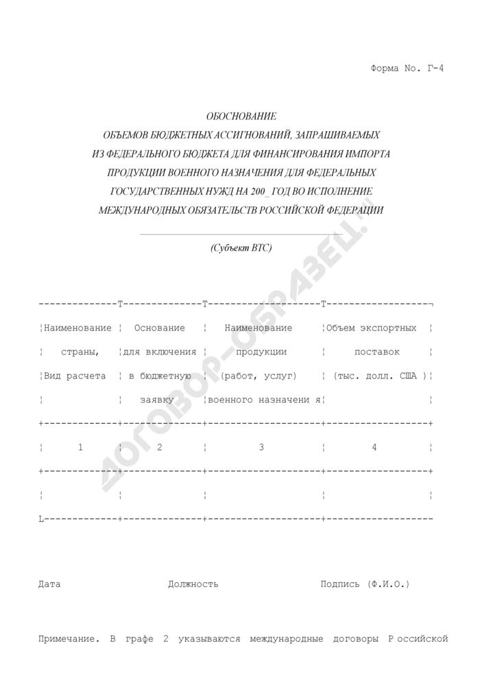 Обоснование объемов бюджетных ассигнований, запрашиваемых из федерального бюджета для финансирования импорта продукции военного назначения для федеральных государственных нужд во исполнение международных обязательств Российской Федерации. Форма N Г-4. Страница 1