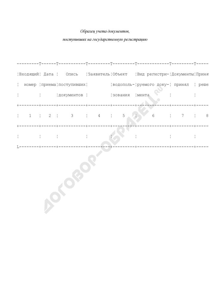 Образец учета документов, поступивших на государственную регистрацию, в государственном водном реестре договоров водопользования. Страница 1