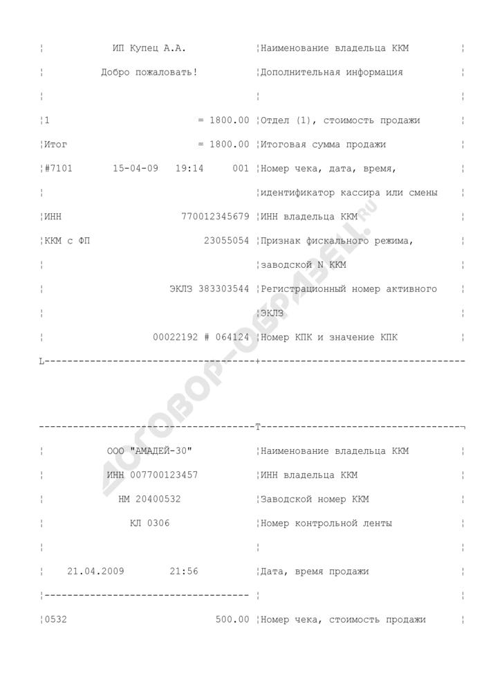 Образцы кассовых чеков с расшифровкой реквизитов. Страница 2