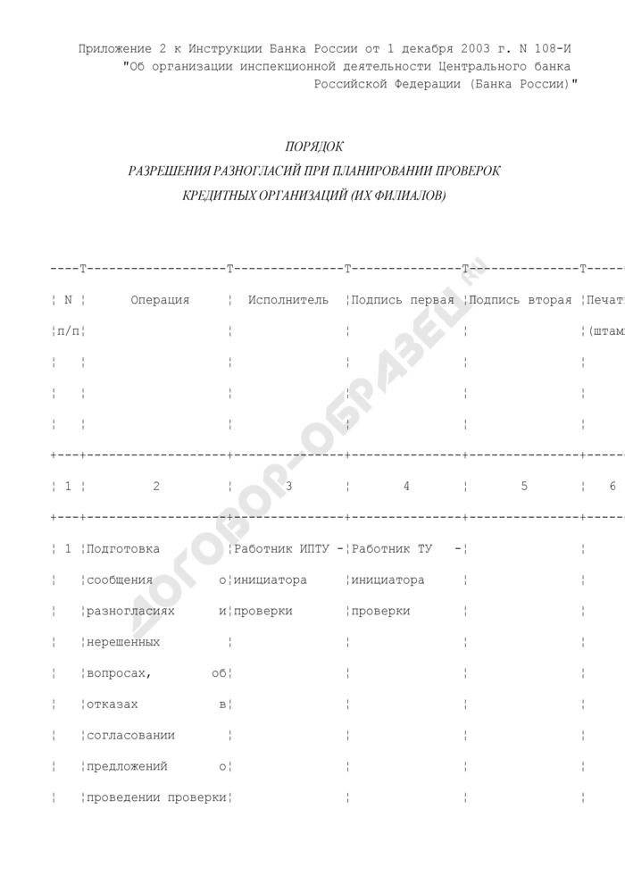 Порядок разрешения разногласий при планировании проверок кредитных организаций (их филиалов). Страница 1