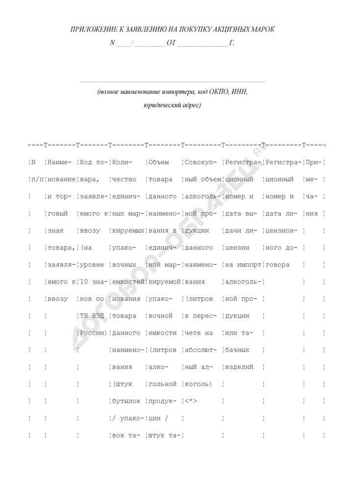 Приложение к заявлению на покупку акцизных марок. Страница 1
