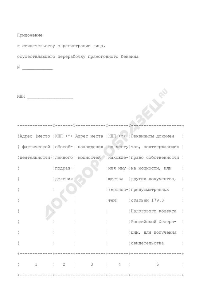 Приложение к свидетельству о регистрации лица, осуществляющего переработку прямогонного бензина. Страница 1