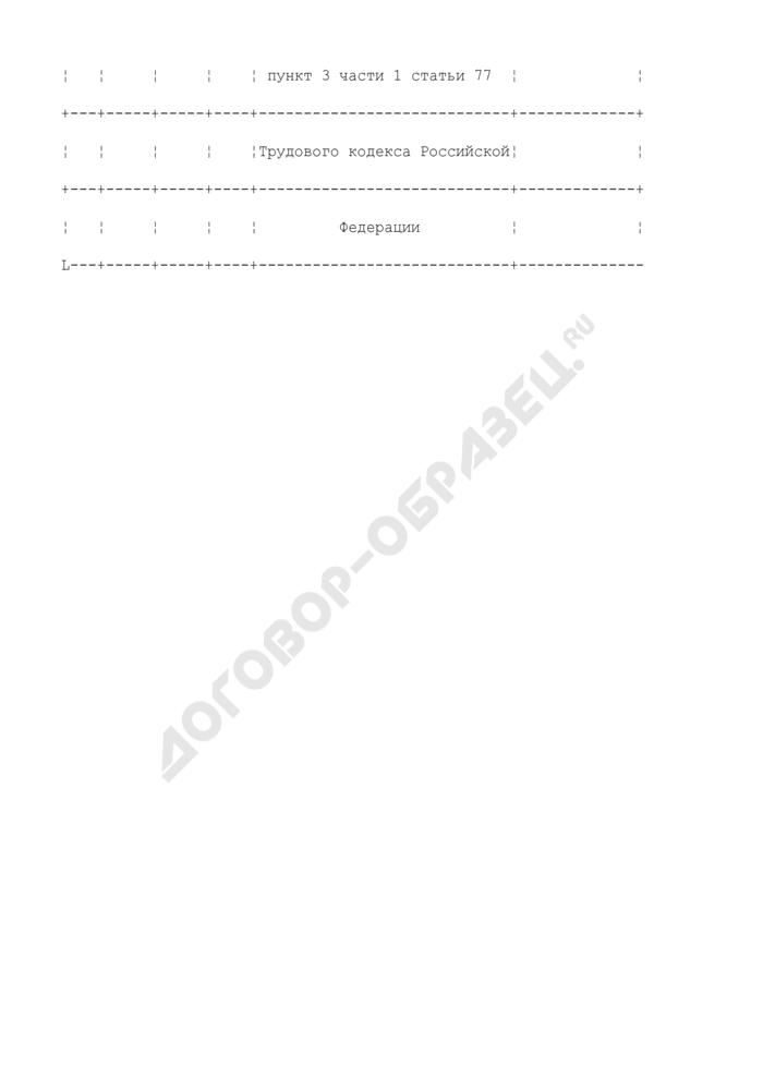 Примерная формулировка записи в трудовую книжку, связанной с расторжением трудового договора по инициативе работника (в связи с необходимостью ухода за ребенком в возрасте до 14 лет). Страница 2