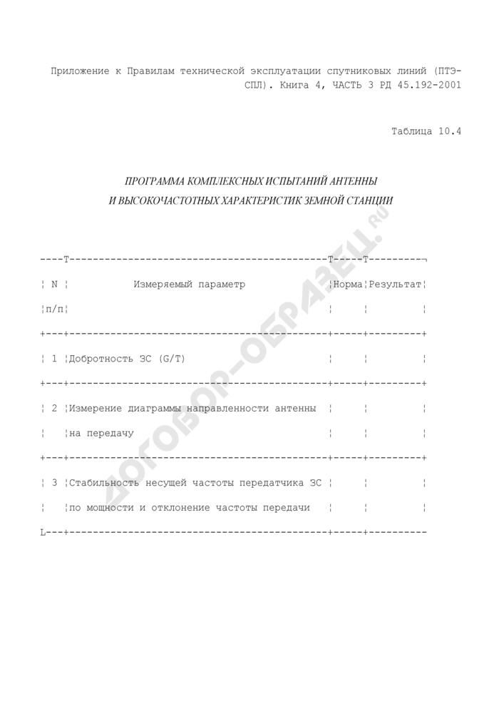 Программа комплексных испытаний антенны и высокочастотных характеристик земной станции (таблица 10.4). Страница 1