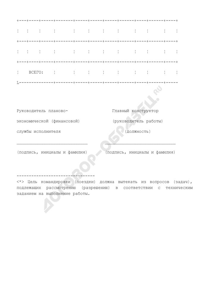 """Расшифровка затрат по статье """"Командировочные расходы"""" на работу, выполняемую по договору (приложение к протоколу согласования цены на выполнение научно-исследовательской, опытно-конструкторской работы). Страница 2"""