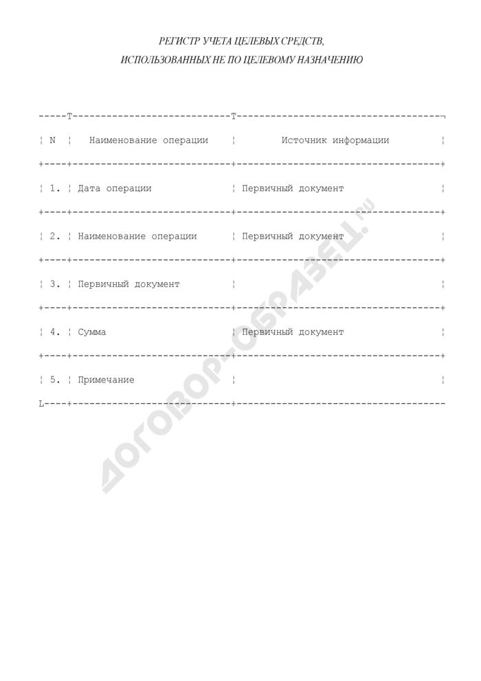 Регистр учета целевых средств, использованных не по целевому назначению. Страница 1