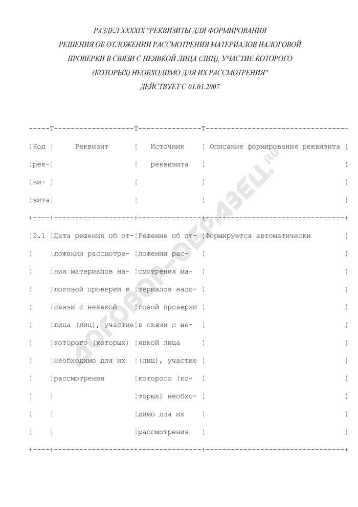 Реквизиты для формирования решения об отложении рассмотрения материалов налоговой проверки в связи с неявкой лица (лиц), участие которого (которых) необходимо для их рассмотрения (раздел XXXXIX). Страница 1