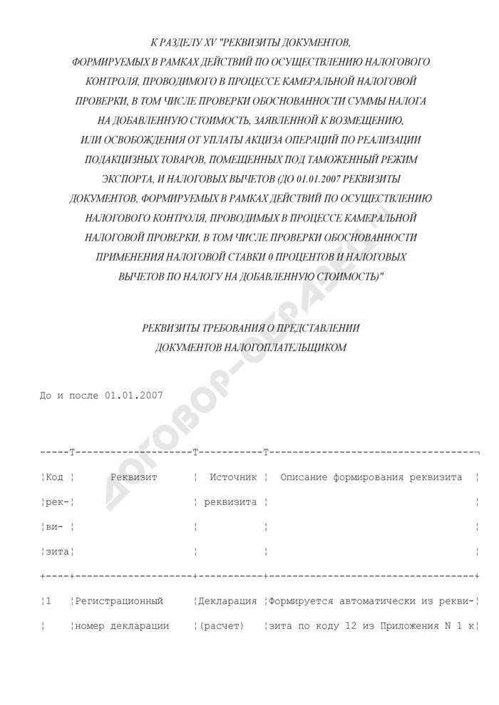 Реквизиты требования о представлении документов налогоплательщиком (к разделу XV). Страница 1