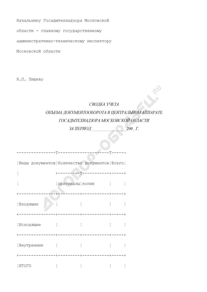 Сводка учета объема документооборота в центральном аппарате Госадмтехнадзора Московской области. Страница 1