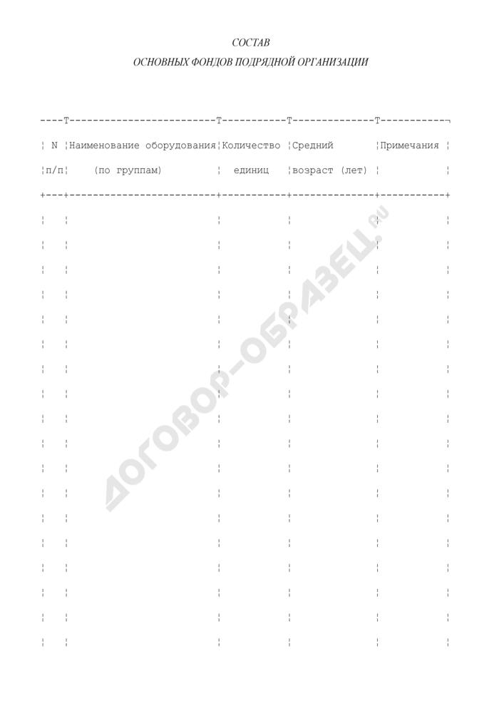 Состав основных фондов подрядной организации (приложение к анкете участника подрядного торга на выполнение строительно-монтажных работ). Страница 1