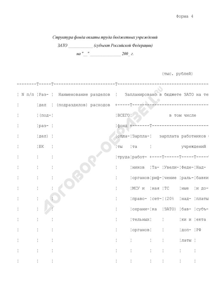 Структура фонда оплаты труда бюджетных учреждений закрытого административно-территориального образования субъекта Российской Федерации. Форма N 4. Страница 1