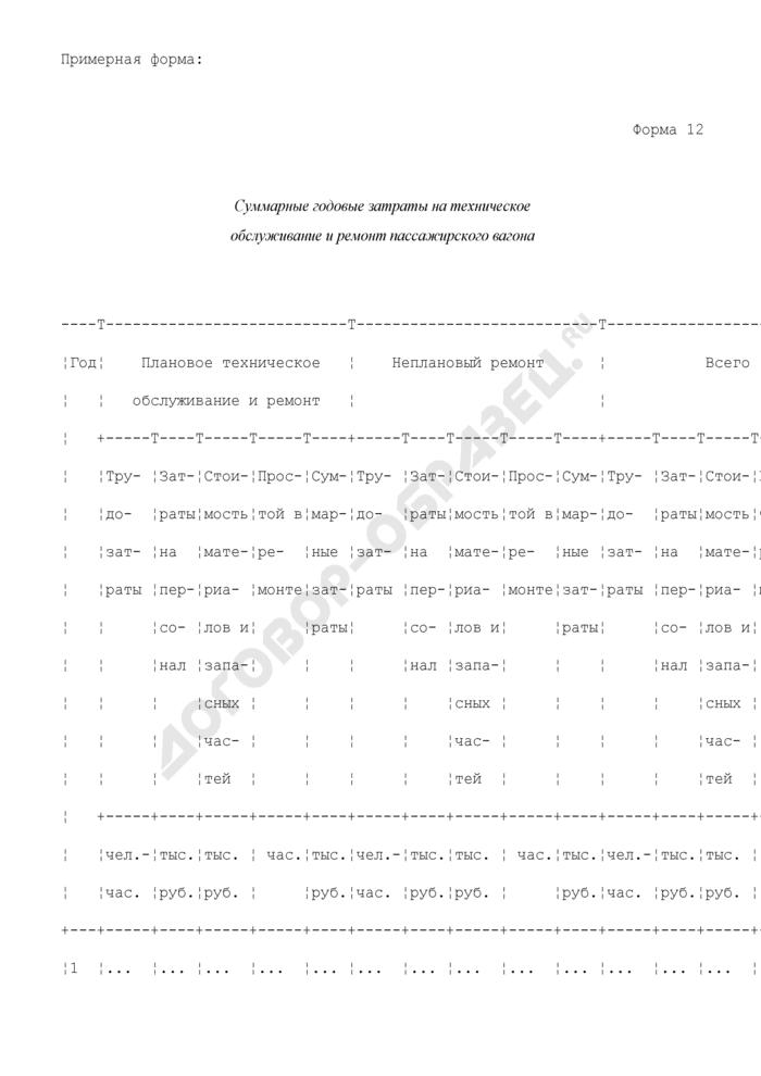 Суммарные годовые затраты на техническое обслуживание и ремонт пассажирского вагона. Форма N 12. Страница 1