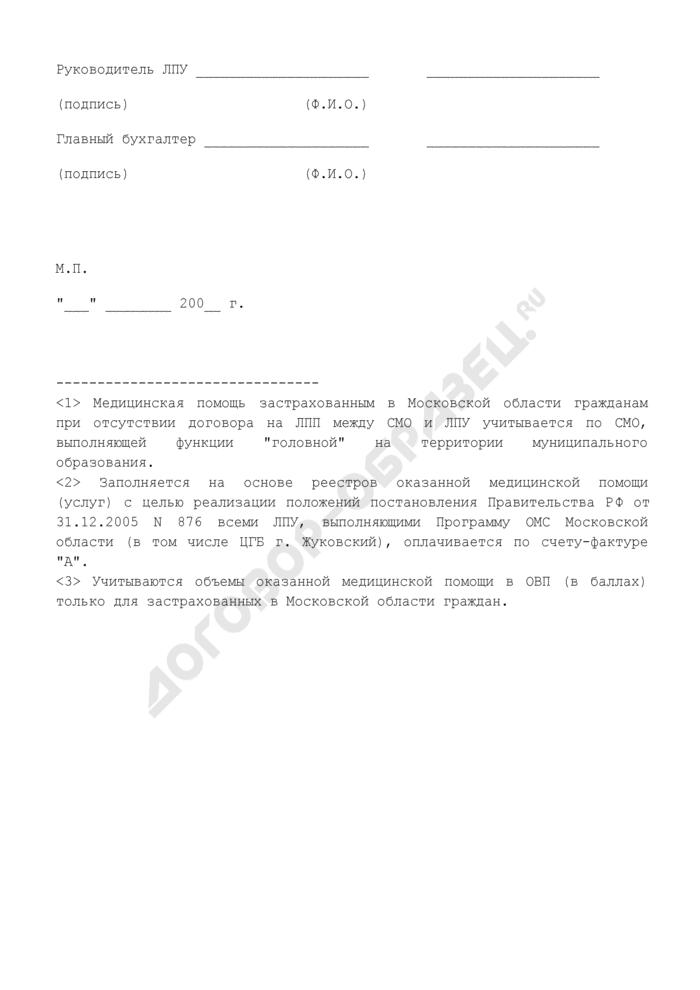 Счет (учетный поликлинический) за медицинскую помощь, оказанную по программе обязательного медицинского страхования в рамках договора на предоставление лечебно-профилактической (медицинской) помощи по работающим гражданам, застрахованным в Московской области. Страница 2