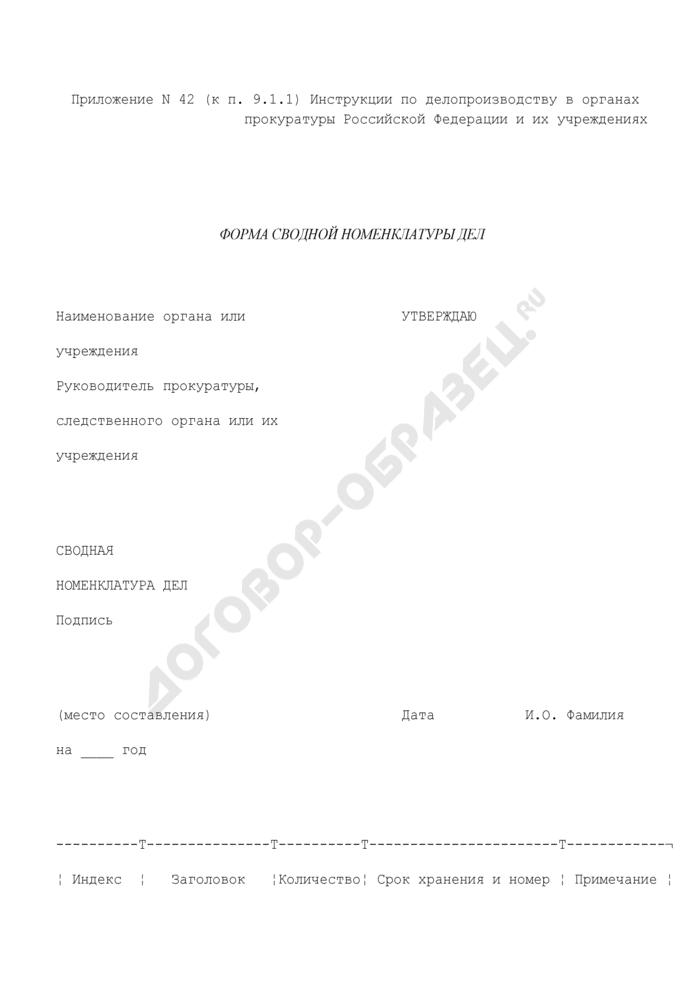 Форма сводной номенклатуры дел в органах прокуратуры Российской Федерации. Страница 1