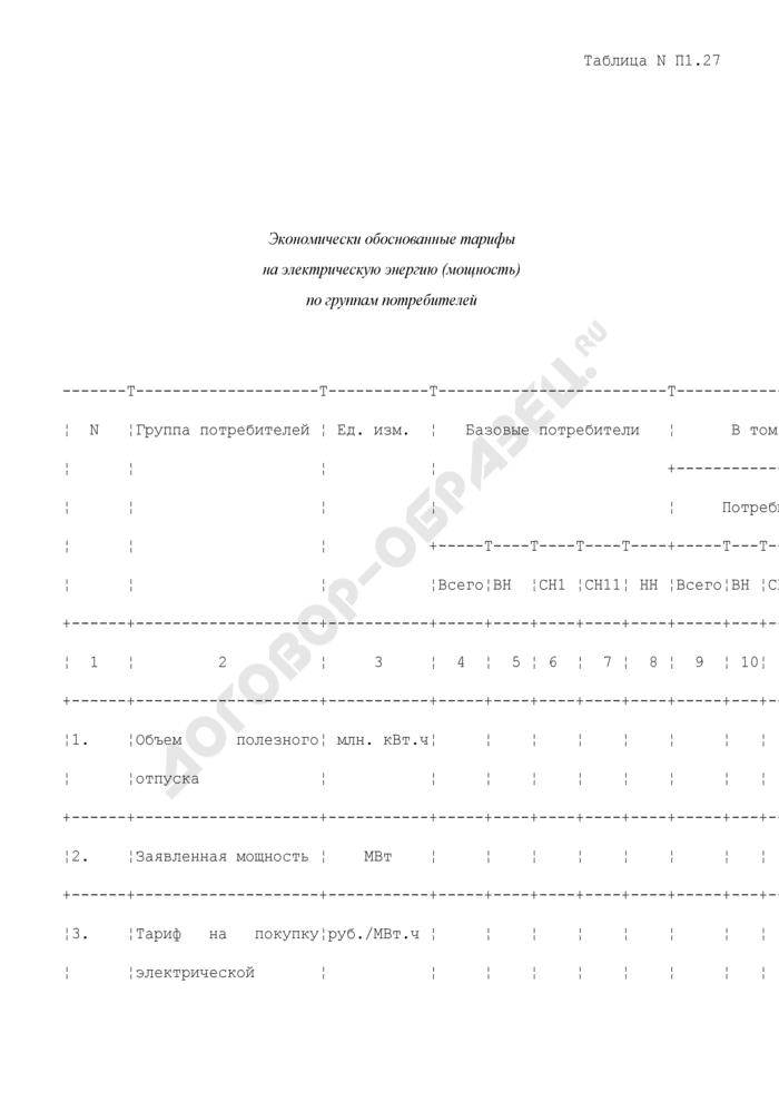 Экономически обоснованные тарифы на электрическую энергию (мощность) по группам потребителей (таблица N П1.27). Страница 1