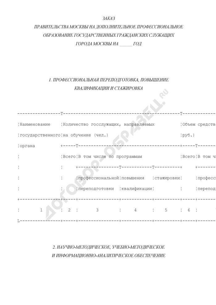 Заказ Правительства Москвы на дополнительное профессиональное образование государственных гражданских служащих города Москвы. Страница 1