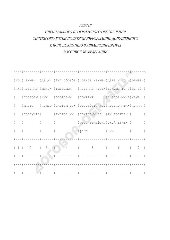 Реестр специального программного обеспечения систем обработки полетной информации, допущенного к использованию в авиапредприятиях Российской Федерации. Страница 1