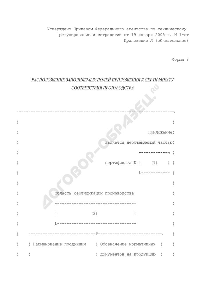 Расположение заполняемых полей приложения к сертификату соответствия производства. Форма N 8. Страница 1