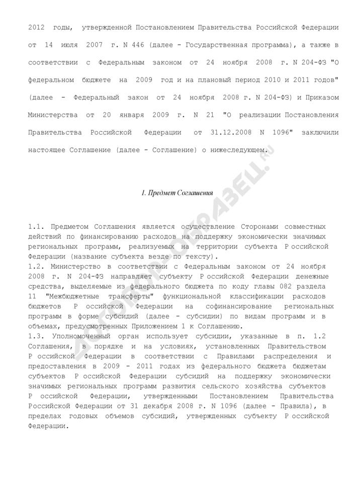 Соглашение о порядке и условиях предоставления субсидии из федерального бюджета бюджету субъекта Российской Федерации на поддержку экономически значимых региональных программ. Страница 2