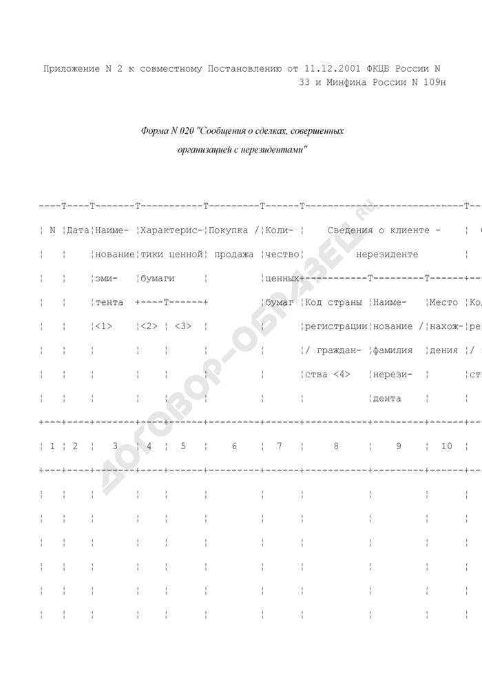 Сообщения о сделках, совершенных организацией с нерезидентами. Форма N 020 (отчетность профессиональных участников рынка ценных бумаг). Страница 1