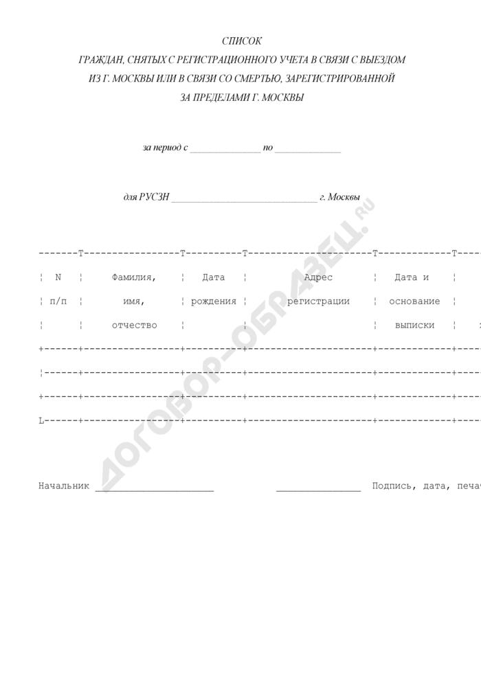 Список граждан, снятых с регистрационного учета в связи с выездом из г. Москвы или в связи со смертью, зарегистрированной за пределами г. Москвы. Страница 1
