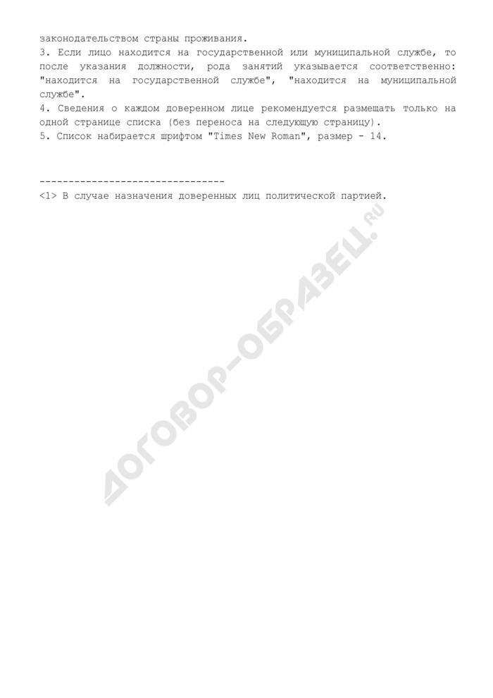 Список доверенных лиц кандидата на должность Президента Российской Федерации (политической партии) с указанием сведений о них (на бумажном носителе) (обязательная форма). Страница 3