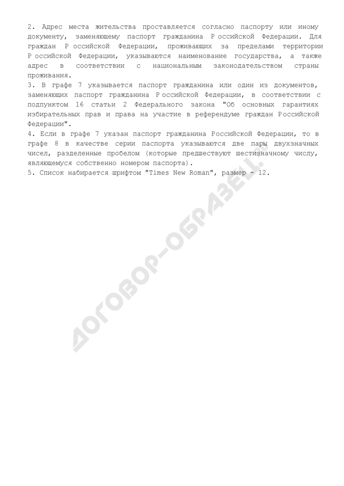 Список лиц, осуществлявших сбор подписей избирателей в поддержку выдвижения кандидата на должность Президента Российской Федерации (рекомендуемая форма). Страница 3