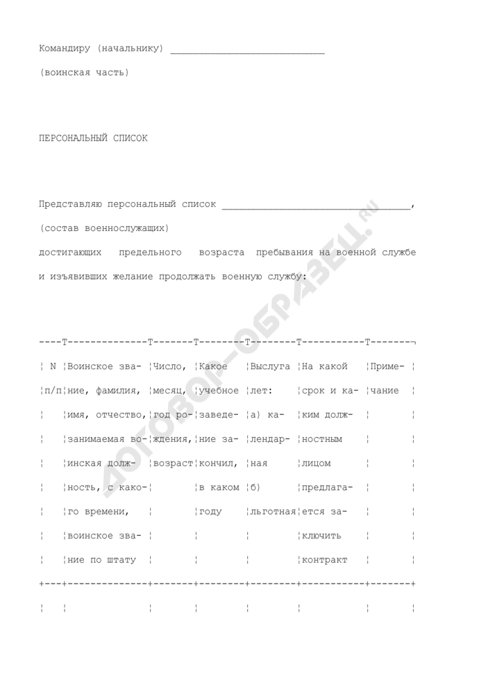 Персональный список военнослужащих, достигающих предельного возраста пребывания на военной службе и изъявивших желание продолжать военную службу. Страница 1