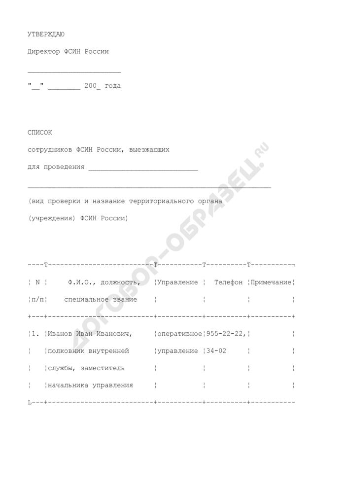 Список сотрудников, выезжающих для проведения проверки территориального органа (учреждения) ФСИН России. Страница 1