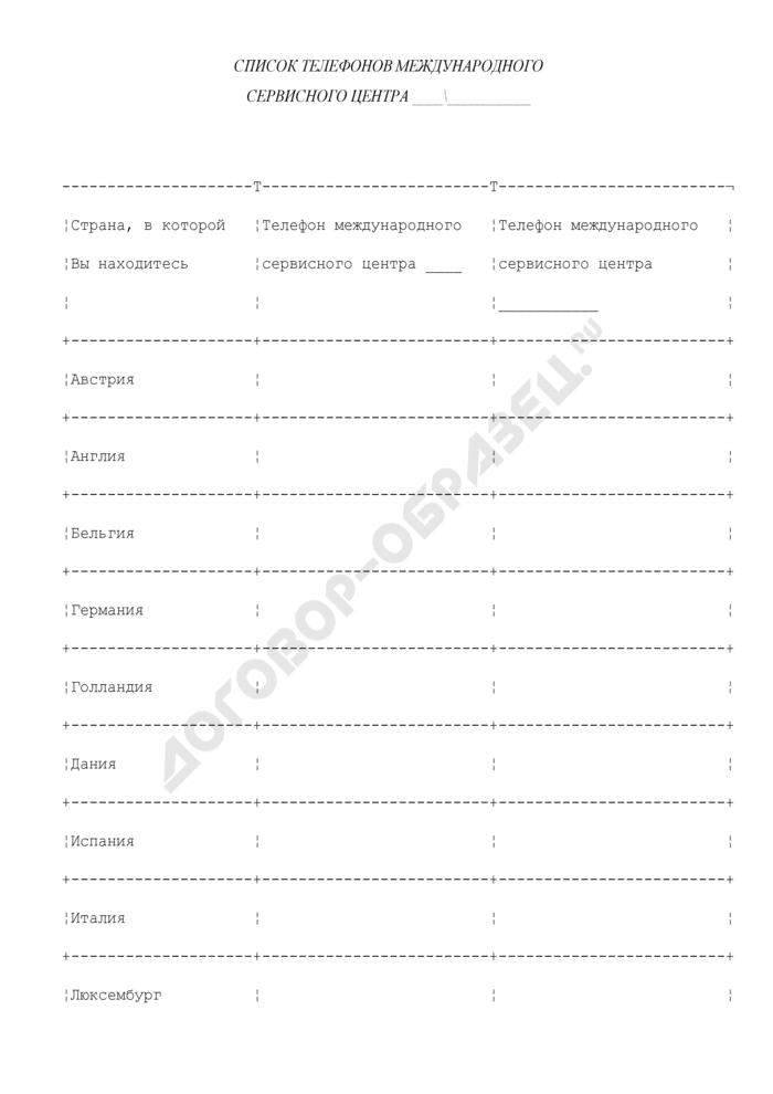 Список телефонов международного сервисного центра (приложение к правилам пользования международной банковской кредитной карточкой). Страница 1