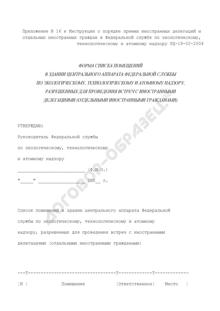 Форма списка помещений в здании центрального аппарата Федеральной службы по экологическому, технологическому и атомному надзору, разрешенных для проведения встреч с иностранными делегациями (отдельными иностранными гражданами). Страница 1