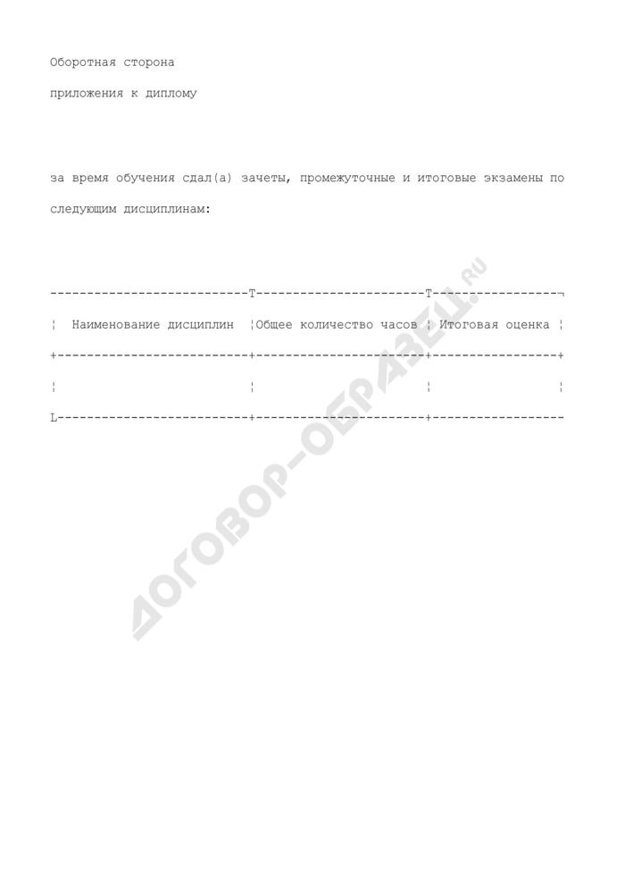 Образец (форма) приложения к диплому. Страница 3