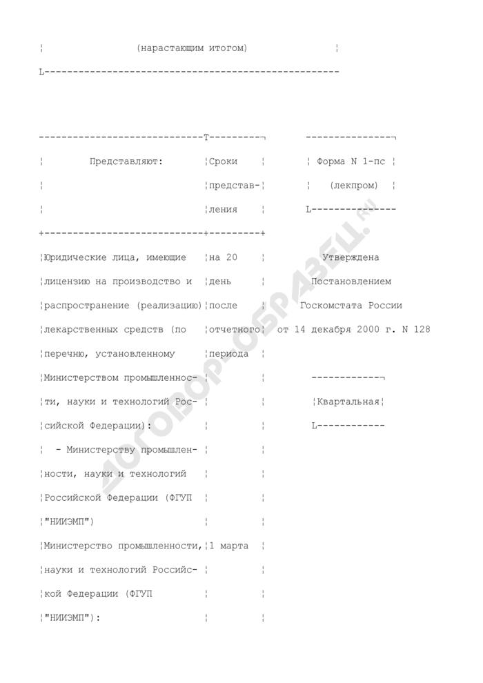 Сведения о продаже (поставке) лекарственных средств. Форма N 1-пс (лекпром). Страница 2