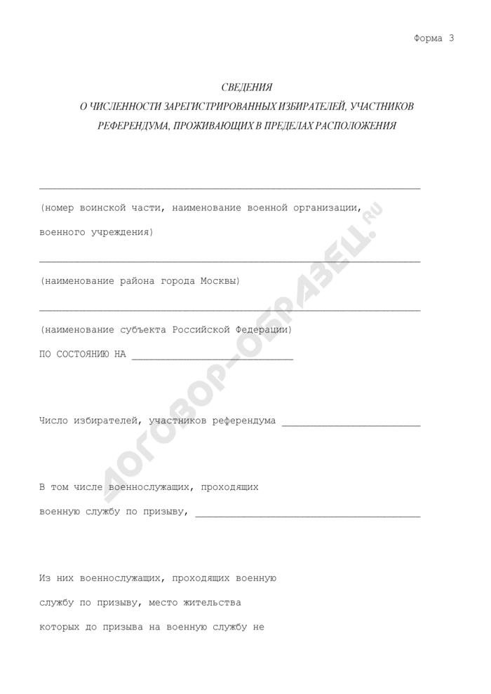 Сведения о численности зарегистрированных избирателей, участников референдума, проживающих в пределах расположения воинской части (военного учреждения). Форма N 3. Страница 1