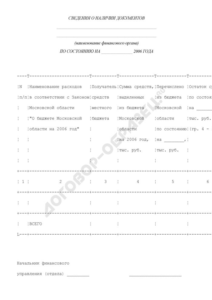 Сведения о наличии документов, необходимых для перечисления средств бюджета Московской области, бюджетам муниципальных образований Московской области. Страница 1