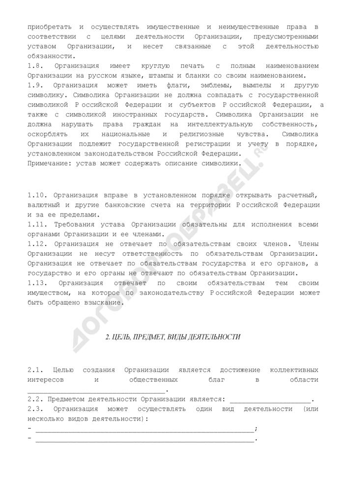 Устав региональной общественной организации (органы управления: общее собрание, правление, председатель правления, ревизионная комиссия). Страница 3