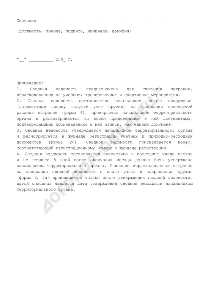 Сводная ведомость на израсходованные патроны. Форма N 19. Страница 2